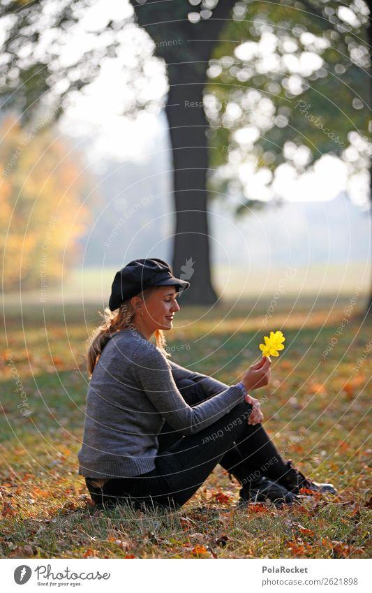 #A# BlattFänger feminin 1 Mensch ästhetisch Herbst herbstlich Herbstlaub Herbstfärbung Herbstbeginn Herbstwald Herbstwetter Herbstwind Ahornblatt Frau sitzen