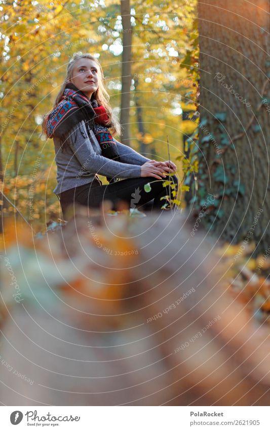 #A# HerbstBlick 1 Mensch ästhetisch herbstlich Herbstlaub Herbstfärbung Herbstbeginn Herbstwald Herbstwetter Frau Mode Model sitzen Außenaufnahme Entscheidung