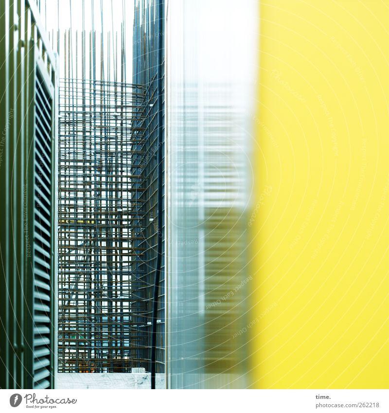 Metallica | Piotr's World Arbeitsplatz Baustelle Technik & Technologie Industrie Bauwerk Architektur Fassade Stahl Linie gelb türkis anstrengen entdecken