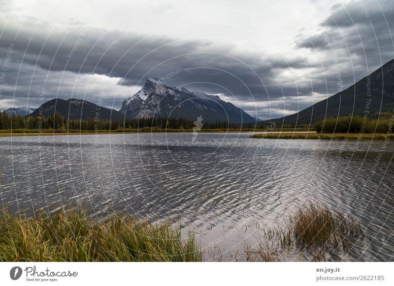 viel Gegend Ferien & Urlaub & Reisen Ausflug Natur Landschaft Himmel Wolken Herbst schlechtes Wetter Gras Berge u. Gebirge Seeufer Vermilion Lakes Klima