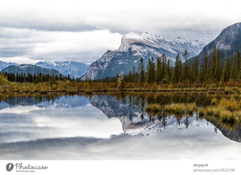 Vermilion Lakes Ferien & Urlaub & Reisen Ausflug Abenteuer Ferne Freiheit Expedition Berge u. Gebirge Natur Landschaft Wolken Herbst Mount Rundle