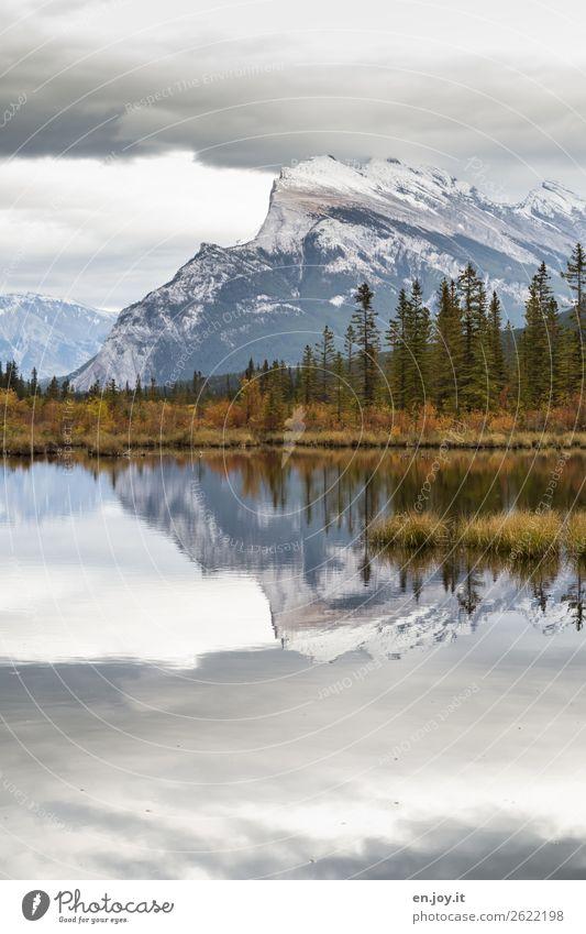 windstill Ferien & Urlaub & Reisen Ausflug Expedition Berge u. Gebirge Umwelt Natur Landschaft Himmel Wolken Herbst Felsen Mount Rundle Rocky Mountains