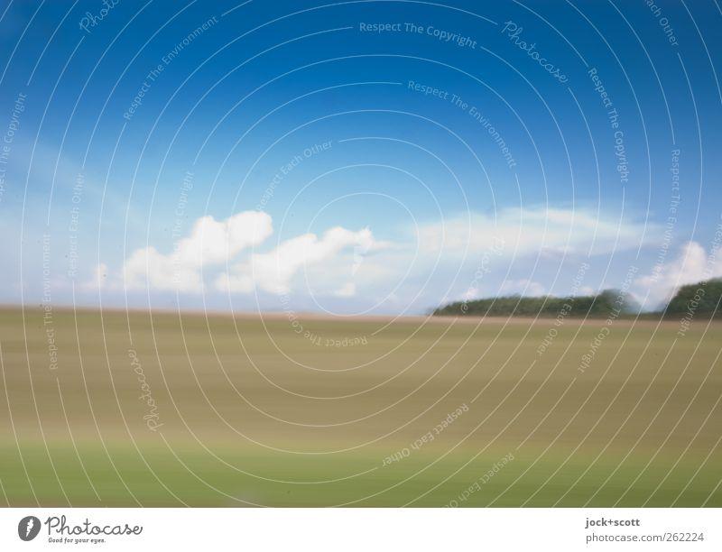 Geschwindigkeit (v) gleich Weg (s) pro Zeit (t) Landschaft Wolken Horizont Sommer Schönes Wetter Feld Streifen Ferien & Urlaub & Reisen außergewöhnlich Ferne