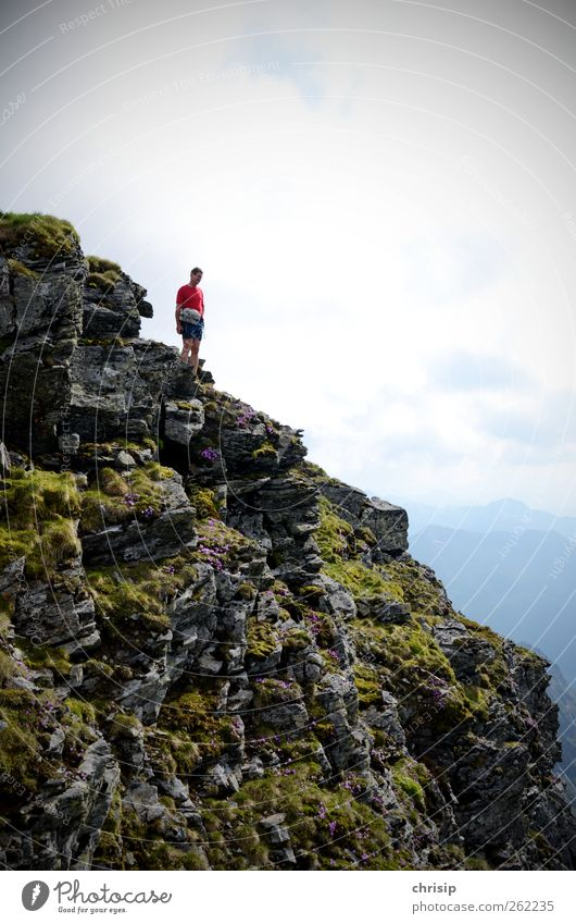 VORSICHT Absturzgefahr!!! Mensch Himmel Mann Natur Sommer Blume Freude Wolken Erwachsene Umwelt Landschaft Berge u. Gebirge Freiheit Felsen Freizeit & Hobby wandern