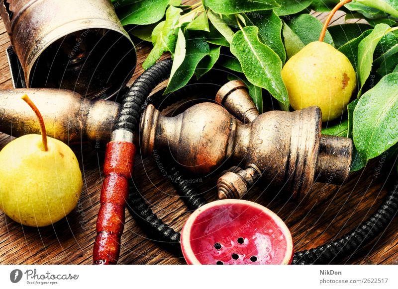 Östliche Shisha mit Birne Wasserpfeifenrauch shisha Frucht Tabak nargile Rauch Nikotin Rauchen Osten Erholung arabisch Mundstück deluxe Röhren duftig