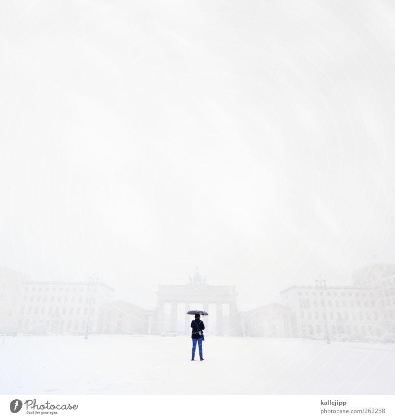 was war´n det? Mensch Stadt Winter Berlin Schneefall Wetter Körper Wind Nebel Fassade Platz Klima Tourismus stehen Regenschirm Skyline