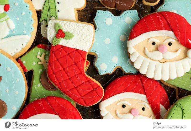 Schöne Kekse Dessert Gesicht Winter Dekoration & Verzierung Feste & Feiern Weihnachten & Advent Silvester u. Neujahr Holz Ornament lecker blau braun grün rot