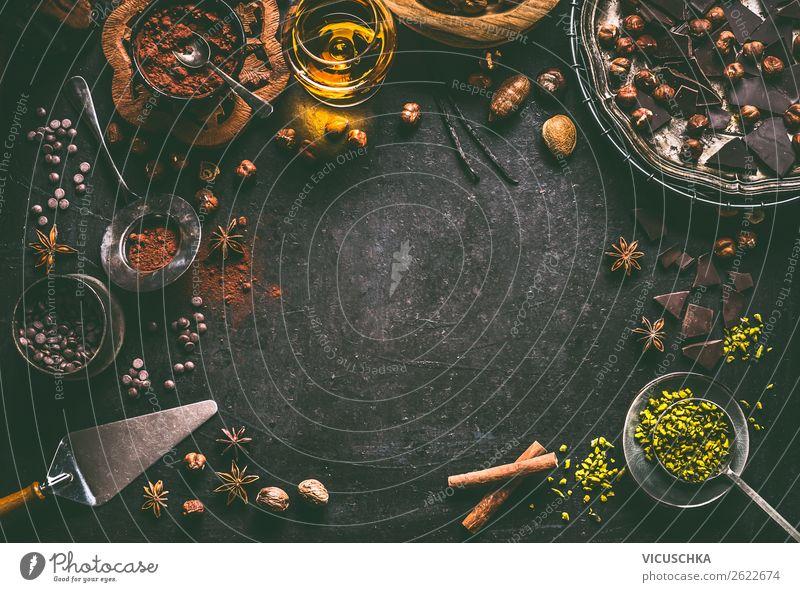Hintergrund mit verschiedene Schokolade Lebensmittel Süßwaren Ernährung Festessen Geschirr kaufen Stil Design Feste & Feiern Weihnachten & Advent
