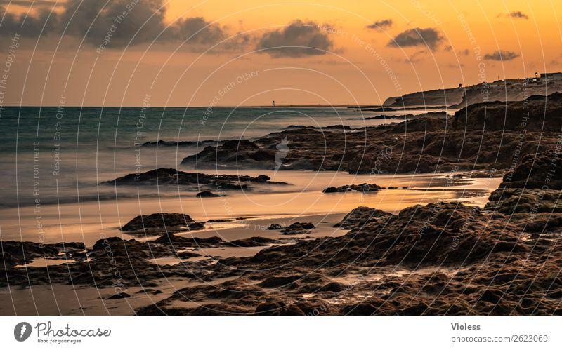 evening dress ... Umwelt Natur Urelemente Sand Sonne Sonnenaufgang Sonnenuntergang Sonnenlicht Sommer Wellen Küste Strand Bucht Kitsch orange Fuerteventura