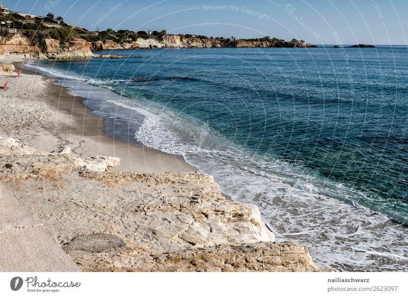 Strand Ferien & Urlaub & Reisen Tourismus Ausflug Sommer Umwelt Natur Landschaft Luft Wasser Schönes Wetter Wärme Felsen Küste Seeufer Bucht Meer Insel Kreta