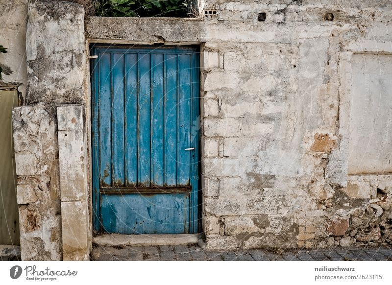 Tür Ferien & Urlaub & Reisen Sommer Natur Kreta Griechenland Dorf Stadt Altstadt Haus Gebäude Architektur Mauer Wand Fassade Stein Holz alt authentisch