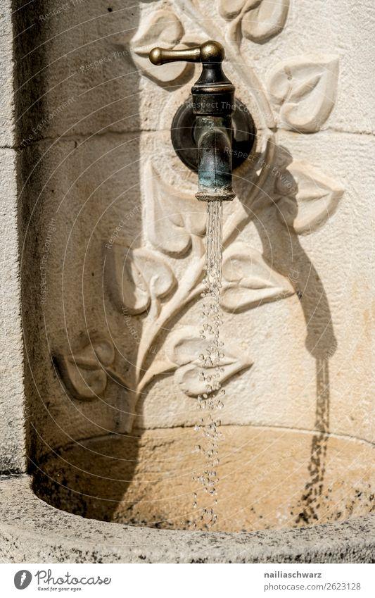 Brunnen Lifestyle Ferien & Urlaub & Reisen Tourismus Ausflug Sommer Natur Wasser Kleinstadt Stadt Mauer Wand Sehenswürdigkeit Wasserhahn Stein Metall frisch