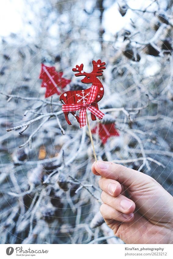 Skandinavische Weihnachtsdekoration Holz Hirsch Stil Design Winter Dekoration & Verzierung Feste & Feiern Weihnachten & Advent Hand Baum Ornament neu blau rot