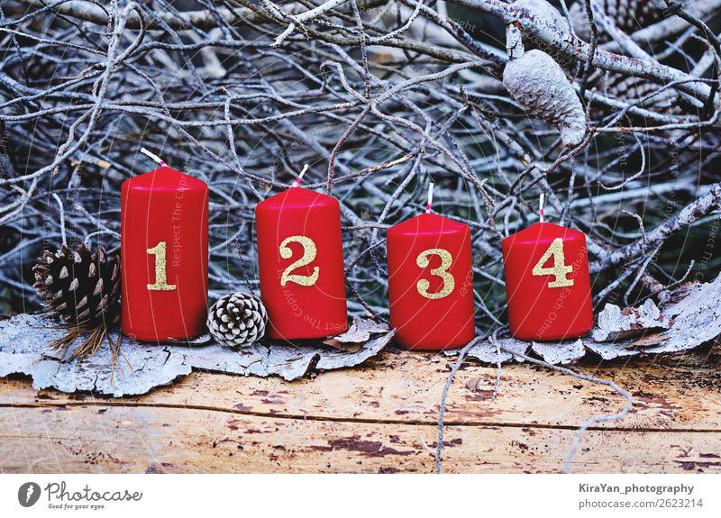 Vier rote Adventskerzen mit Nummer Winter Dekoration & Verzierung Feste & Feiern Weihnachten & Advent Baum Kerze Gefühle Hoffnung geheimnisvoll