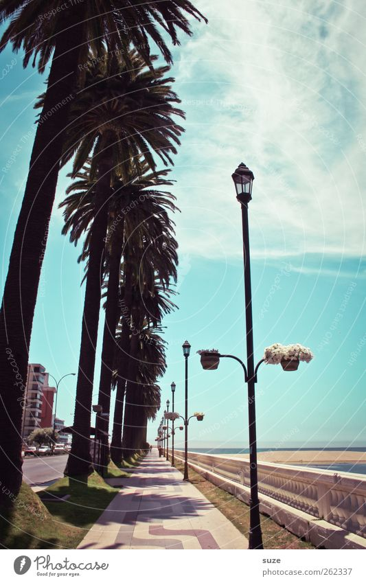Promenade Himmel Natur blau Ferien & Urlaub & Reisen Wasser Meer Landschaft Strand Umwelt Wege & Pfade Küste Horizont Schönes Wetter Urelemente Fußweg Laterne