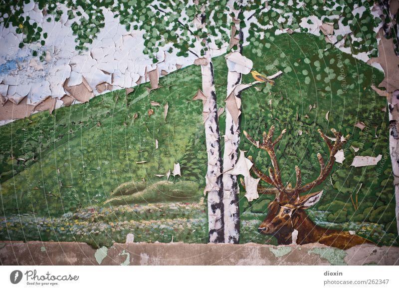 Deutsche Idylle mit Hirsch Kunst Kunstwerk Gemälde Baum Baumstamm Birke Birkenblätter Birkenrinde Hügel Tier Wildtier Hirsche Hirschkopf Rothirsch Horn 1 alt