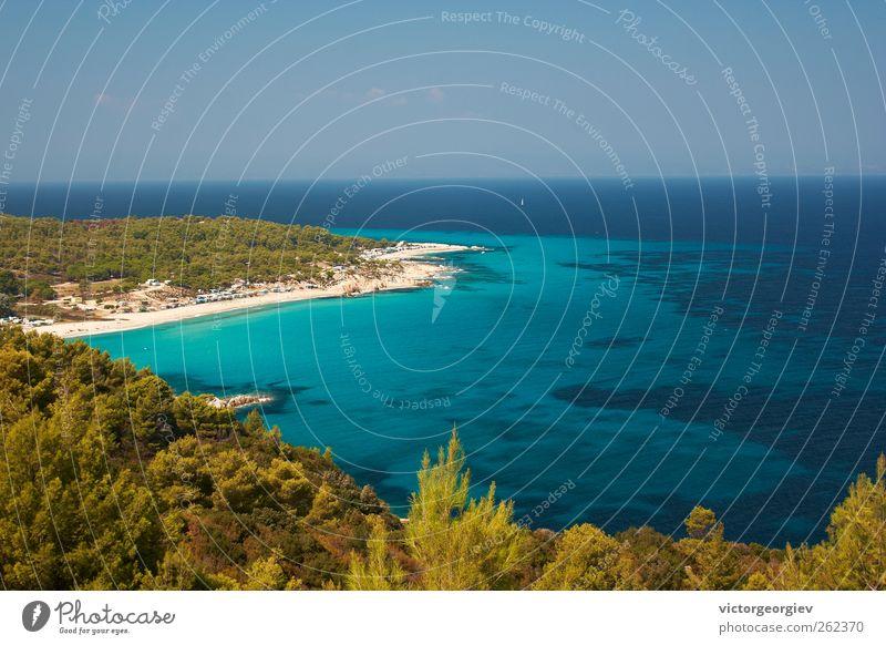 blaues Meer Erholung Ferien & Urlaub & Reisen Freiheit Kreuzfahrt Sommerurlaub Sonne Sonnenbad Strand Insel Natur Landschaft Wasser Himmel Horizont