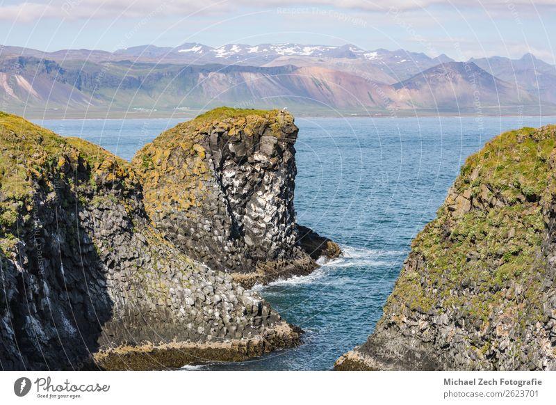 Erstaunlicher Blick auf die fantastische Küste des Island-Sommers. schön Ferien & Urlaub & Reisen Strand Meer Natur Landschaft Wolken Wetter Unwetter Nebel