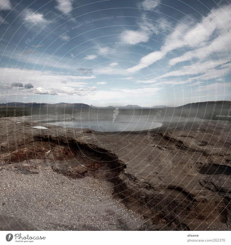 HOT SPRING Natur Landschaft Wasser Himmel Wolken Horizont Wärme Dürre Felsen Vulkan Teich See heiß Island Wasserdampf Außenaufnahme Menschenleer Weitwinkel