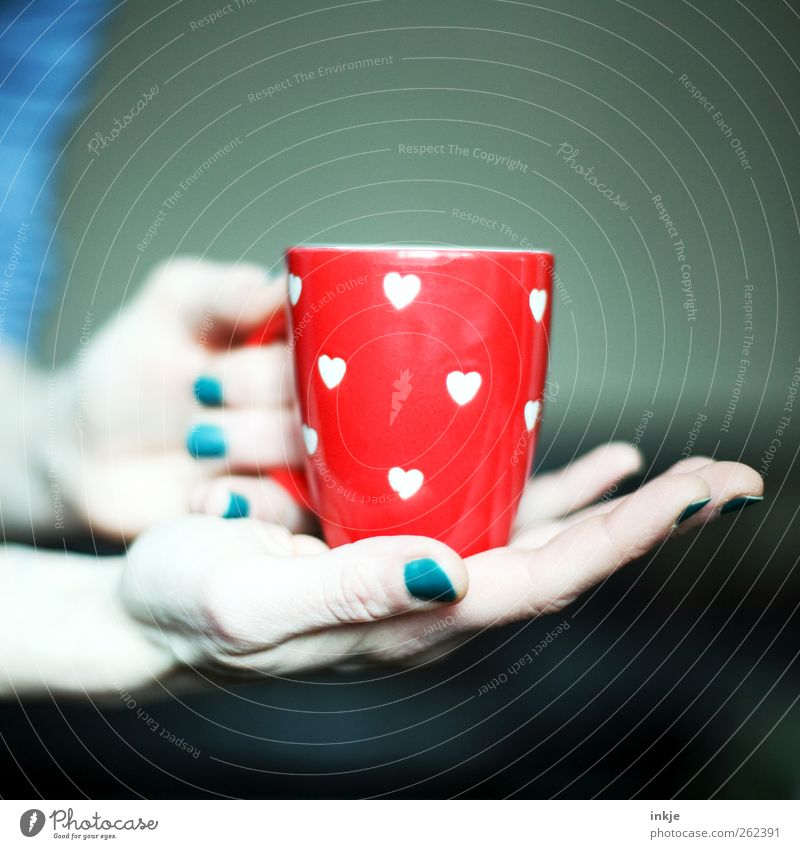Die Tasse, die nicht zum Nackellack passen wollte Frühstück Getränk Heißgetränk Kaffee Tee Becher Stil Nagellack Erwachsene Leben Hand 1 Mensch Herz festhalten