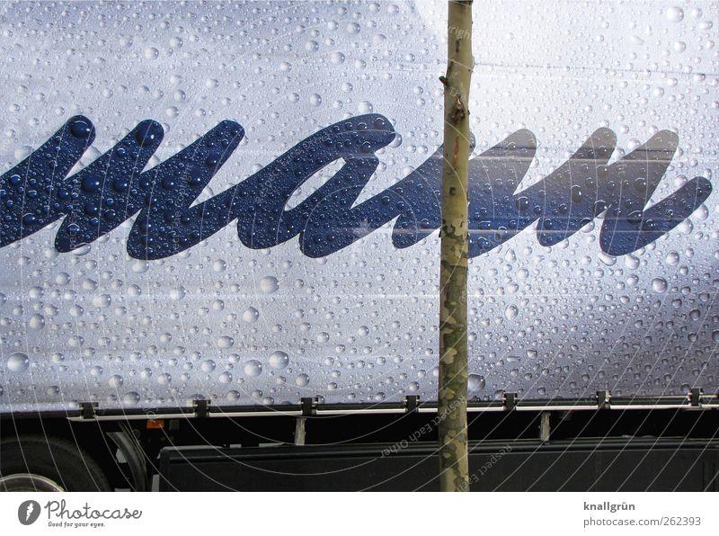 Mann Fahrzeug Lastwagen Schriftzeichen nass blau silber Konkurrenz Abdeckung Werbung Wassertropfen Farbfoto Außenaufnahme Menschenleer Textfreiraum oben