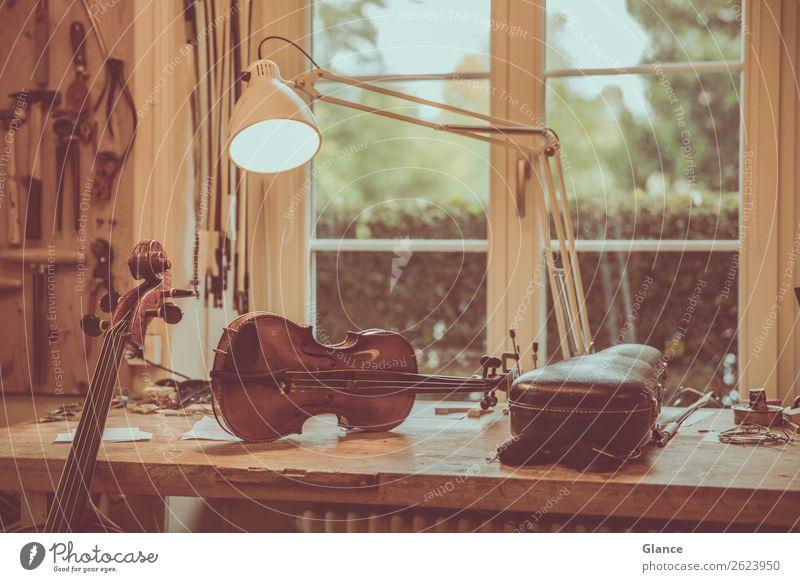 Geige am Platz Handarbeit Arbeit & Erwerbstätigkeit Handwerker Arbeitsplatz Werkzeug Musik Herbst Fenster Holz ästhetisch authentisch natürlich schön braun grün