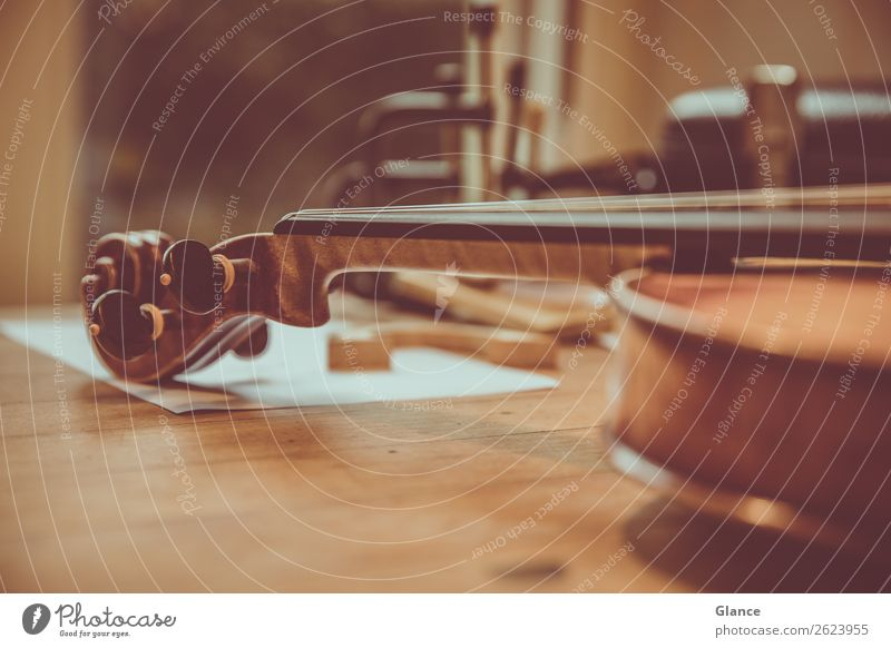 Stimmig Kunst Musik Geige Holz alt ästhetisch lang schön braun schwarz Stimmung Senior Design elegant Kultur Präzision ruhig Wert Hobelbank instrument stimmen