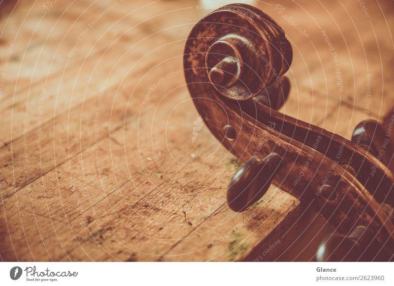 Cello im Service elegant Stil Design Handwerker Arbeitsplatz Kunst Musik Musikinstrument Holz Ornament alt ästhetisch natürlich braun schwarz Stimmung
