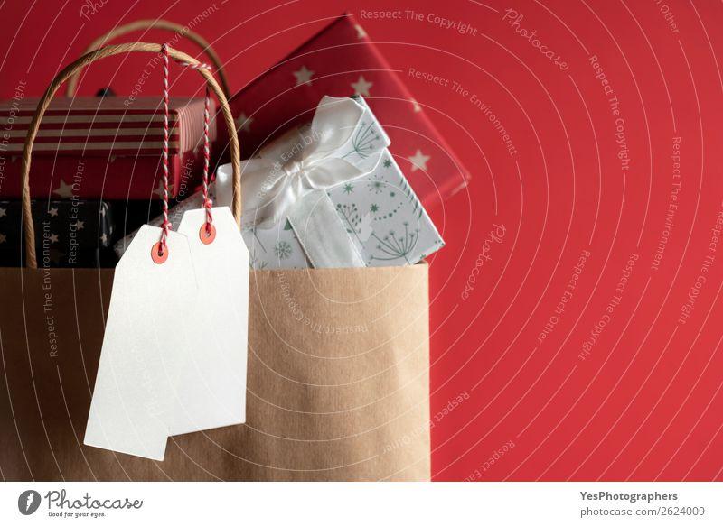 Weihnachten & Advent rot Winter Feste & Feiern Geburtstag Geschenk Silvester u. Neujahr festlich Tüte Dezember Konsum blanko Sale Jahrestag Einkaufstasche