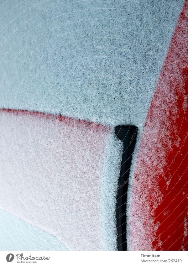 Zartweiße Hülle. Verkehrsmittel PKW Glas Metall ästhetisch hell rot Sinnesorgane Kurve Linie schwarz Autodach Heckscheibe Farbfoto mehrfarbig Außenaufnahme