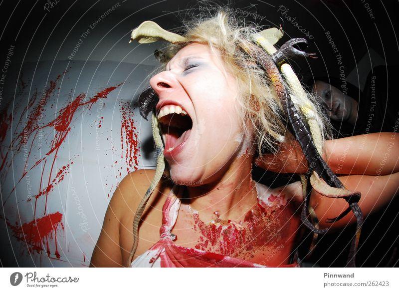 blutige PartyVI Haare & Frisuren Spiegel Halloween Jahrmarkt Mensch Mode Schlange schreien blond dreckig rot Traurigkeit Schmerz Angst Entsetzen Ärger