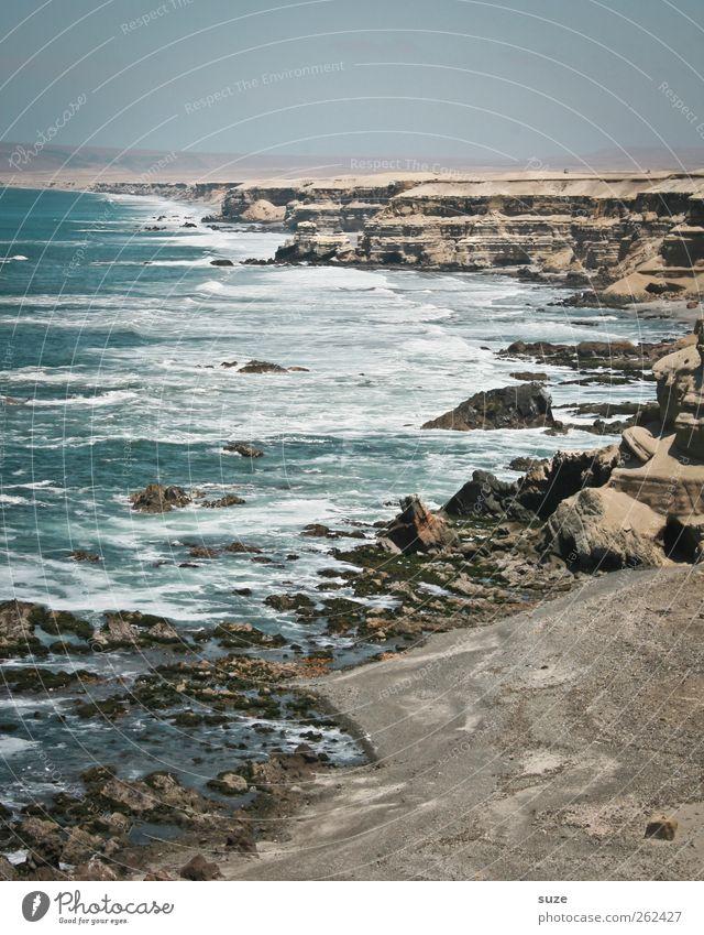 Mare Himmel Natur blau Wasser Ferien & Urlaub & Reisen Sommer Meer Ferne Umwelt Landschaft Freiheit Küste Luft Horizont Wellen Felsen
