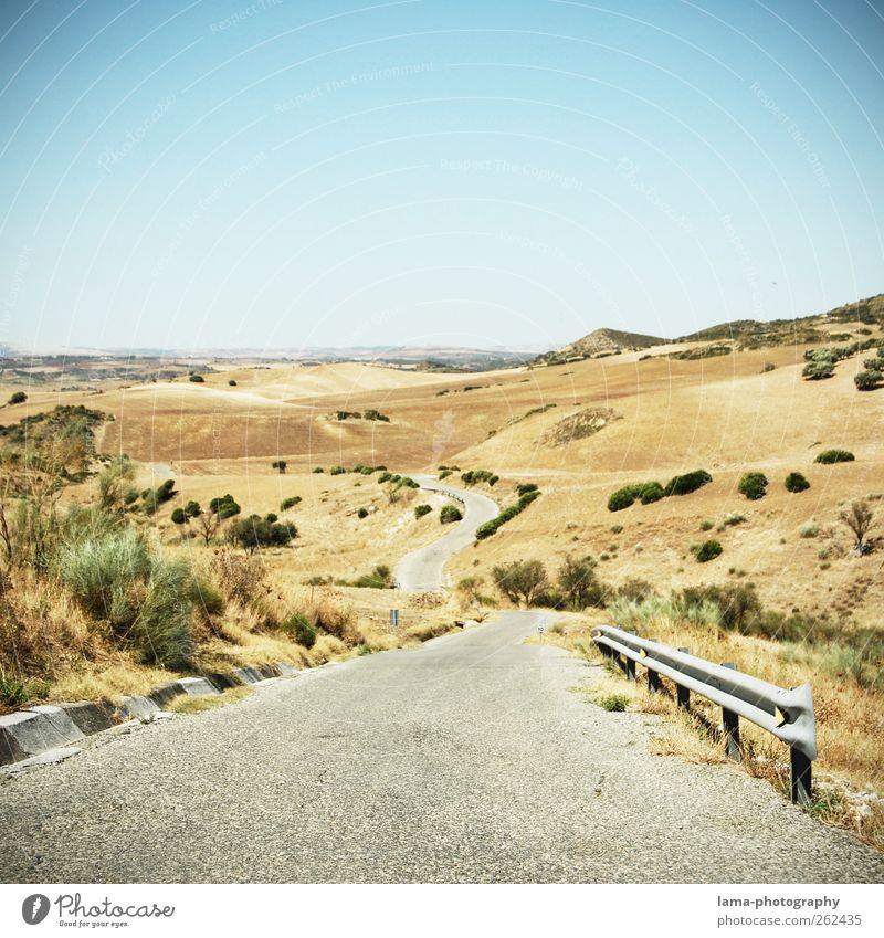El camino [XXII] Abenteuer Ferne Expedition Umwelt Natur Landschaft Wolkenloser Himmel Dürre Feld Wüste Steppe Sierra Nevada Verkehrswege Autofahren Straße