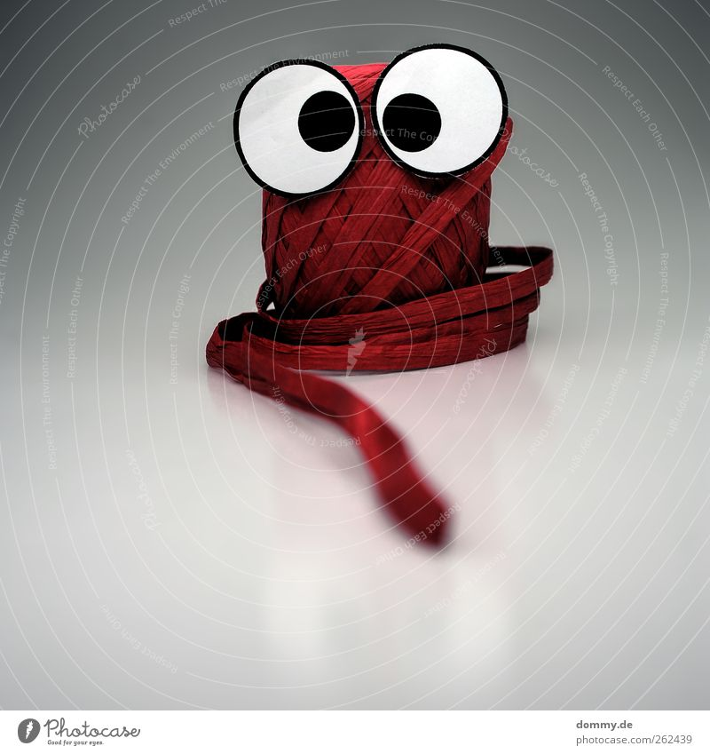 hä?! Papier Verpackung Kunststoff Blick Euphorie Angst Entsetzen Schnur Geschenkband Auge verrückt lustig rot rund Reflexion & Spiegelung Rolle Knäuel Basteln