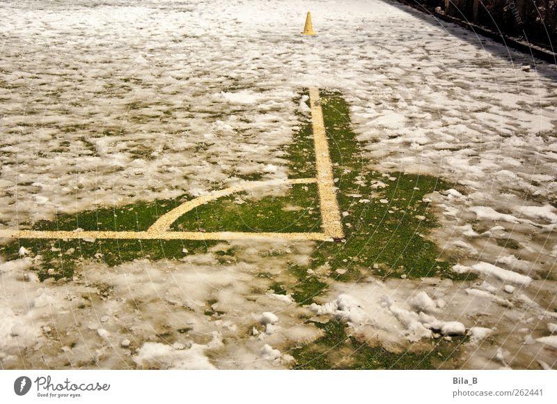 Wintersport grün weiß Freude Winter gelb kalt Wiese Schnee Sport Rasen sportlich skurril Eckstoß Schlamm Fußballplatz Flutlicht