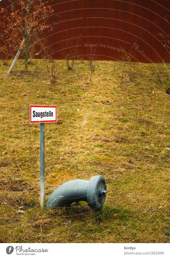 Saugstelle Wiese Herbst Schilder & Markierungen authentisch Hinweisschild Sicherheit Schutz Rohrleitung Bogen Feuerwehr Anschluss Warnschild Muffe
