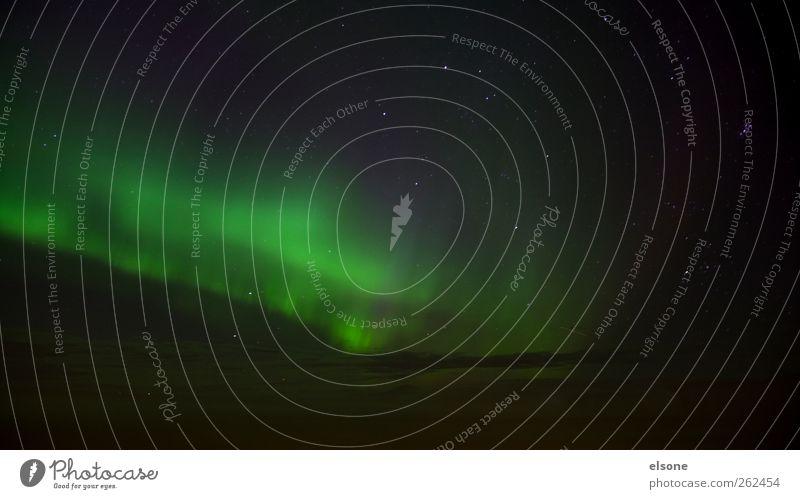 K O S M O S Himmel Natur grün schwarz Landschaft Stern leuchten fantastisch Weltall Island Nachthimmel Norden Erscheinung Naturphänomene Nordlicht