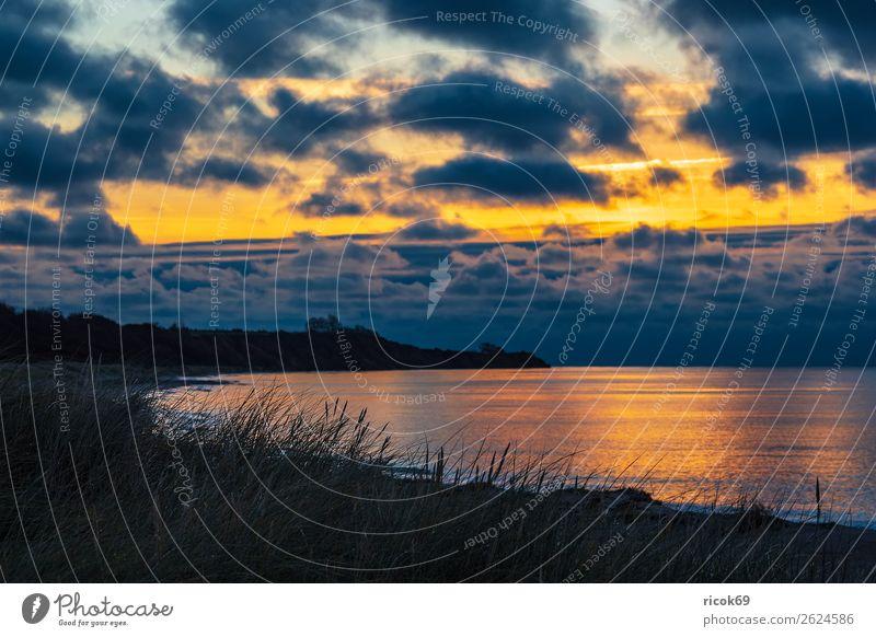 Ostseeküste bei Klintholm Havn in Dänemark Erholung Ferien & Urlaub & Reisen Tourismus Strand Meer Natur Landschaft Wasser Wolken Herbst Baum Felsen Küste Stein