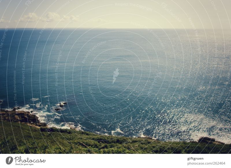 nothingness Umwelt Natur Landschaft Urelemente Luft Wasser Himmel Wolken Horizont Sommer Klima Wetter Schönes Wetter Wiese Felsen Wellen Küste Meer ästhetisch