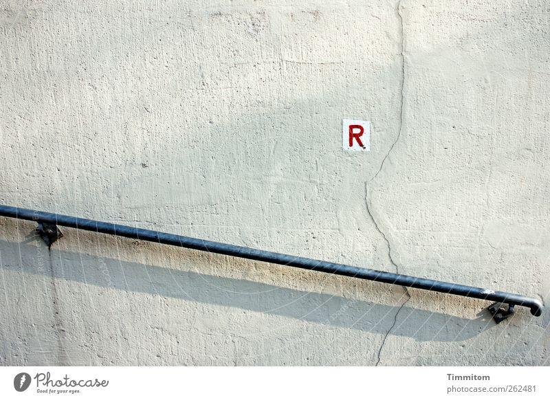 R wandern Heidelberg Mauer Wand Geländer Zeichen Schriftzeichen Schilder & Markierungen grau rot weiß Orientierung Klarheit unterstützend Farbfoto