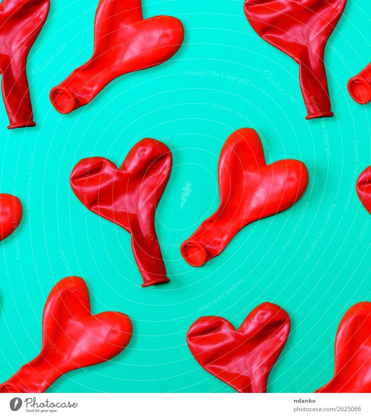 rote Gummiballons Freude Dekoration & Verzierung Feste & Feiern Geburtstag Spielzeug Luftballon Herz Fröhlichkeit lustig türkis Farbe Idee Liebe Hintergrund
