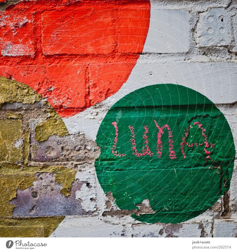 Luna im Quadrat Mauer Backstein Zeichen Schriftzeichen Kreis alt gebrauchen machen niedlich trashig mehrfarbig Fröhlichkeit Glaube Design Inspiration