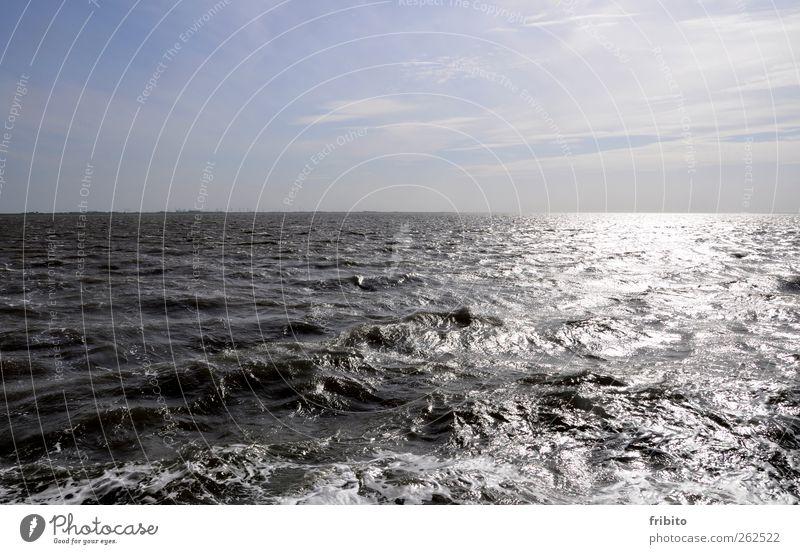 Die Nordsee Himmel Natur Wasser Ferien & Urlaub & Reisen Sonne Meer Sommer Wolken ruhig Ferne Erholung Umwelt Freiheit Wetter Wellen Wind