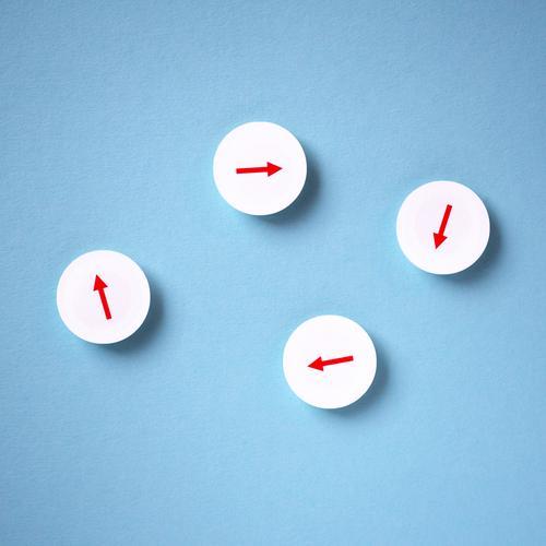 kein Ende Wirtschaft Werbebranche Telekommunikation Business Karriere Erfolg Sitzung Team Zeichen Schilder & Markierungen Pfeil blau rot weiß Zufriedenheit