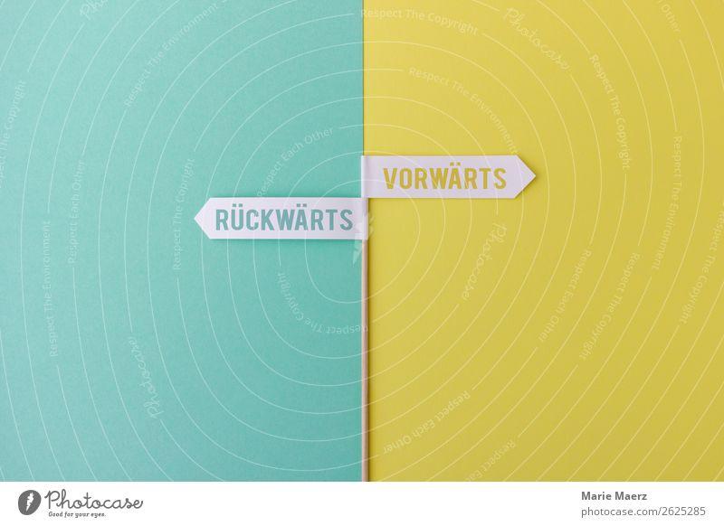Rückwärts - Vorwärts Bildung lernen Karriere Erfolg Bewegung machen einfach Unendlichkeit neu Neugier mehrfarbig gelb Kraft Willensstärke Sicherheit Beginn
