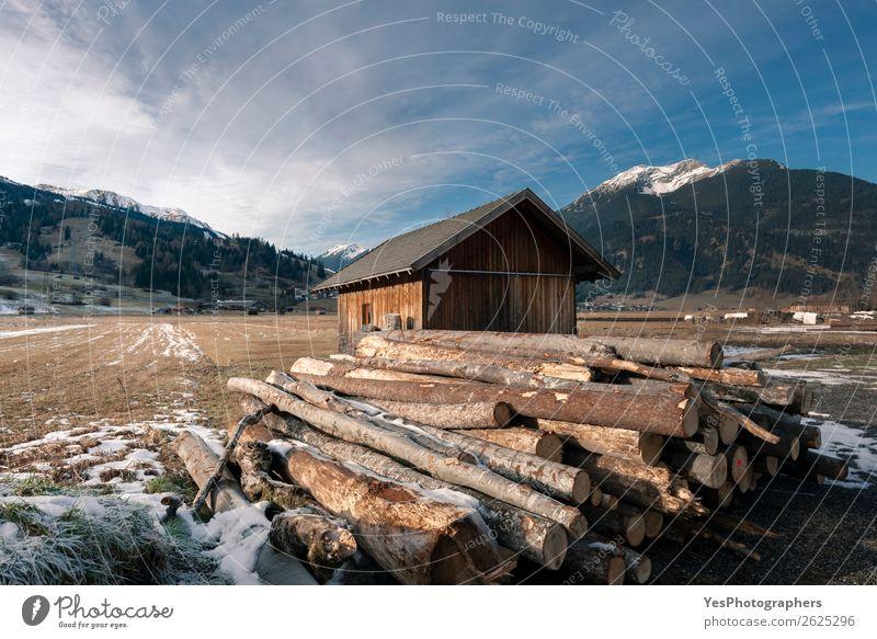 Hütte und Haufen von geschnittenen Baumstämmen in den Alpen Winter Schnee Berge u. Gebirge Industrie Umwelt Landschaft Dorf Holz alpin Österreich Österreicher