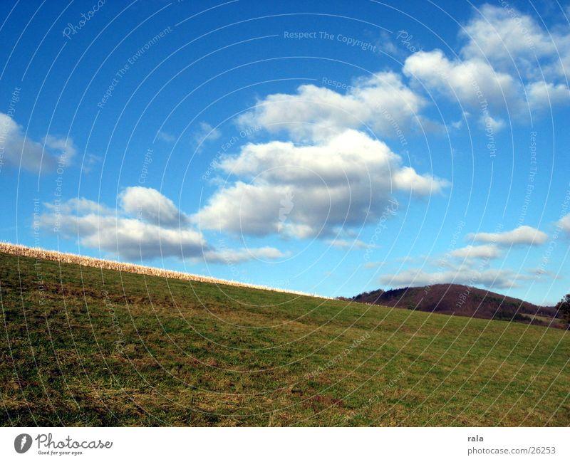 wenn der Himmel die Erde berührt Natur Himmel Wolken Wiese Landschaft Luft Feld Hügel Weide