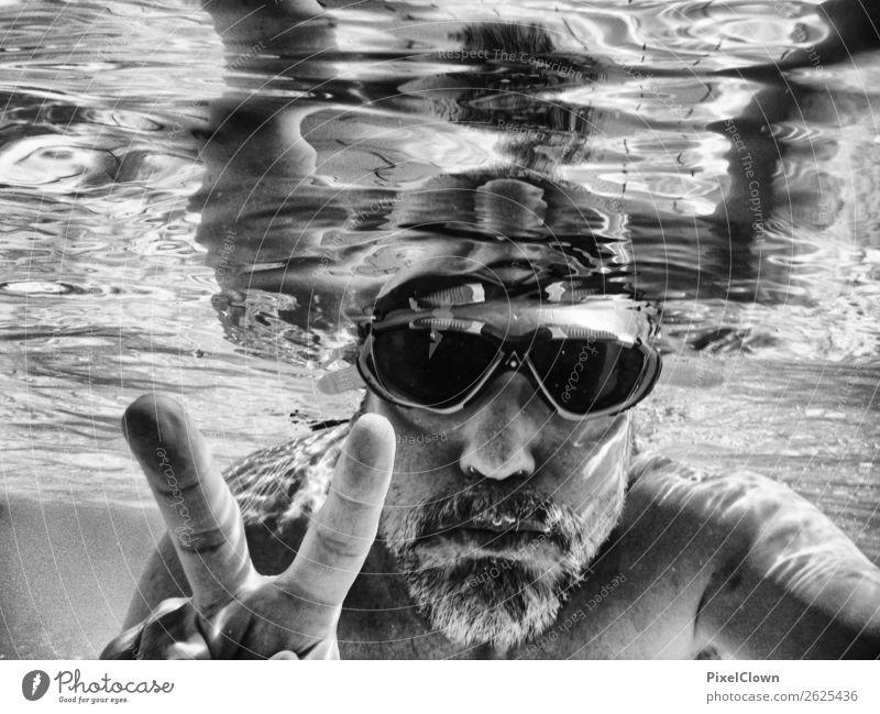 Tauchen sportlich Ferien & Urlaub & Reisen Tourismus Sommer Wassersport tauchen Mensch maskulin Mann Erwachsene Kopf 1 Meer Sportboot Schwimmen & Baden schwarz