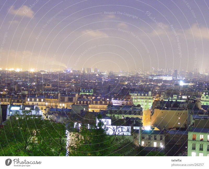Paris bei Nacht Tour d'Eiffel Haus Vogelperspektive Stadt Europa Himmel Luftaufnahme