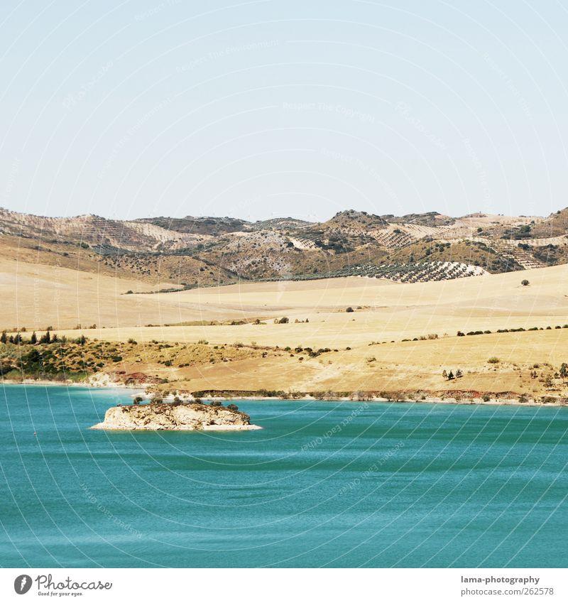 El lago [XXVI] Ausflug Sand Wasser Feld Hügel Küste Seeufer Insel Malaga Andalusien Spanien Ferien & Urlaub & Reisen ruhig Stausee Embalse del Guadalhorce
